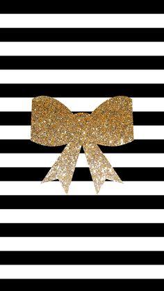 Gold Glitter Bow and Black & White Stripes