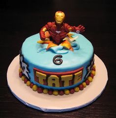 A has requested this cake for his birthday. Thank you, Son, for picking the easiest Iron Man Cake on Pinterest!!!!