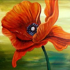 RED POPPY PAINTING  12x12  Fine Art Gilclee Print by Naturetrail, $40.00