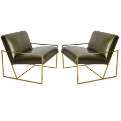 Pair Of Polished Brass Lawson Fenning  Arm Chairs