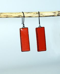 Burnt Orange Rectangle Earrings by Leontines on Etsy, $18.00