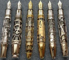 Wicked cool... fountains, fountain pens, doctor who, skeleton, hand made, mont blanc, steampunk, montblanc, ink