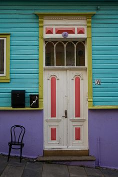 Colorful door & building. Norway