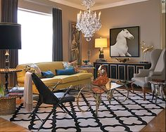 horse art above console in living room
