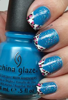 Blue nails with leopard print tips China Glaze Nail Lacquers #chinaglaze #OPI @opulentnails