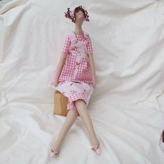 Tilda Doll - Pink rose Dungarees
