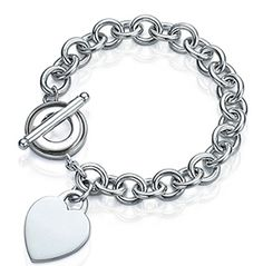 SELLOFF! Silver Plated Heart Tag Charm Toggle Clasp Bracelet