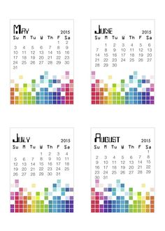 Free 2015 Pixel Calendar Cards from scrappystickyinkymess