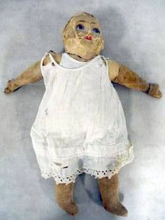 "A ""sleeper"", painted canvas doll. This doll found at a Good Will store is worth much more than forty bucks."