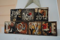 Images Transferred to Wood - Wedding Gift Photo Blocks - DATE and LOVE. $40.00, via Etsy.