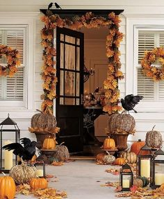 Anyone Can Decorate: The Fall Front Porch halloween decorations, front door decor, decorating ideas, halloween door, front doors, fall decorating, fall porches, pottery barn, front porches