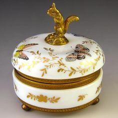 FRENCH OPALINE GLASS GILT ORMOLU CASKET BOX ENAMEL BUTTERFLIES, FIGURAL SQUIRREL