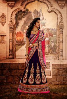 USD 209.1 Violet Embroidered Wedding Lehenga Saree  34085