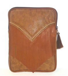 """Cofi Case - Western Tablet/eBook CoFi Case - Montana, $119.99 (http://store.coficase.com/copy-of-western-tablet-ebook-cofi-case-montana/) - Tan Vintage Case w/Leather Fringe and a Horsehair Tassel. Accommodates iPads, Kindle Fire HD 8.9"""" and more!"""