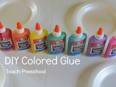 colored glue, food coloring, color glue, diy preschool, colors preschool, diy color, craft for colors, color preschool art, art projects