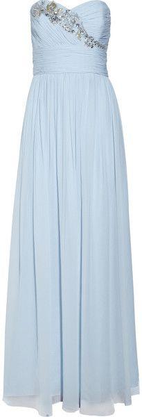 silk chiffon, gowns, marchesa blue, embellish silk, chiffon gown