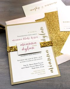 "Glitter Wedding Invitations, Gold Glitter Wedding Invitation, Glitter Envelope Liners, Gold Wedding Invites - ""Gold & Glitter"" Sample"