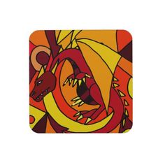 Fantastic Dragon and Fire Abstract Art Design Beverage Coasters #dragons #art #stickers #zazzle