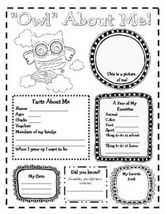 """Owl"" About Me Posters.  Newly revised to include a separate set of posters with European spellings! (favourite and colour)  $"