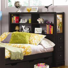 Storage Headboard decor, bedroom idea, headboards, bookcas headboard, hous, shelving headboard, storag headboard, guest rooms, open shelving