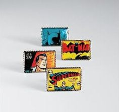 Superhero Stamp Cuff Links