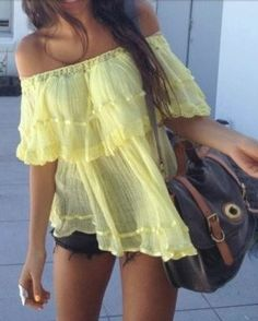 love this! summer shirts, summer styles, fashion, summer looks, blous, summer outfits, yellow, bright colors, summer tops