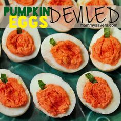 """Pumpkin"" Deviled Eggs from Mommy Savers.  Regular deviled eggs designed to look like pumpkins."
