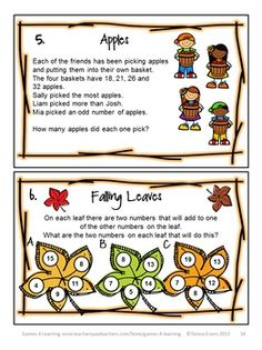 Fall/Autumn Math Games, Puzzles and Brain Teasers from Games 4 Learning. It is loaded with Fall math fun for the classroom or for kids to take home. $