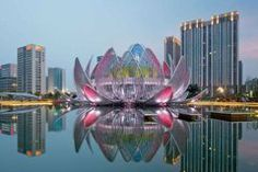 China's latest bizarre building looks like a giant pink lotus flower. It was designed by Melbourne-based studio505. 13b77e7192b38a8faaa13ecd97bbb136.jpg