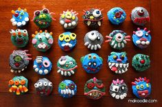 Monster cupcakes using assorted candies.  Great food craft for kids. glowdie