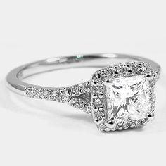 Platinum Harmony Ring // Set with a 1.00 Carat, Princess, Ideal Cut, G Color, SI1 Clarity Diamond #BrilliantEarth