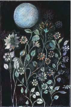 Moon Gardens:  #Moon #Garden Print ~ reproduced from an original drawing in pen, ink, and watercolor.