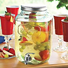 Bring some of that southern charm to your next garden party or backyard BBQ. This Mason Jar Dispenser holds your favorite coolers and summer beverages in high rustic style.
