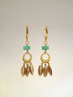 Drop Earring with Turquoise and Shell Stones by Hibiscus03 on Etsy, $35.00