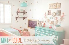 Gorgeous nursery in yummy colors! Made By Munchie's Mama: Kennedy's Mint and Coral Nursery Reveal