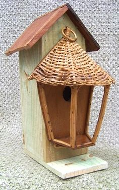 "Bamboo Chalet Birdhouse 16"" Tall Resourced Materials Details: http://www.backwaterstudio.com/bamboo-chalet-birdhouse.html"