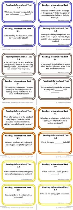 Reading: Informational Text Common Core Question Stems!  Use these ready-made questions in literature groups, independent reading, and more!