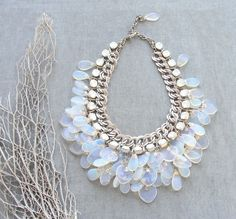 Splendid Bride  Moonstone and Crystal Necklace by StaroftheEast, $410.00