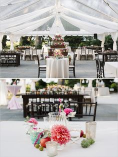 outdoor tent reception with elegant table decor #outdoorwedding #elegantwedding #weddingchicks http://www.weddingchicks.com/2014/03/07/traditional-southern-glam-wedding/