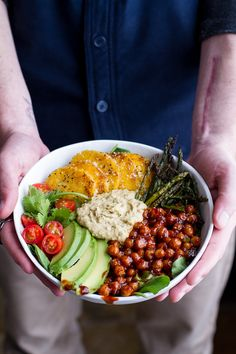 Spicy BBQ Chickpea and Crispy Polenta Bowls with Asparagus + Ranch Hummus