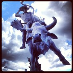Lane Frost statue at Frontier Days in Cheyenne, Wyoming