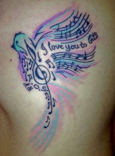 Bird with music notes ... really love this one... especially the colors!  #tattoo #music #songbird