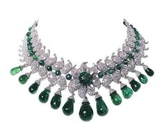 """Van Cleef & Arpels, Paris, 1949–50. The """"Baroda Set"""" ordered by the Maharani of Baroda, """"The Indian Wallis Simpson"""", wife of the Maharaja of Baroda. This impressive suite of jewellery was designed by Jacques Arpels for Sita Devi, the second wife of Maharaja Pratapsinh Gaekwad of Baroda. It consists of 13 pear-shaped Colombian emeralds – 154 carats in total – suspended from diamonds set in the shape of a lotus flower. All the gems were all supplied by the Maharani and belonged to the Baroda Crow…"""