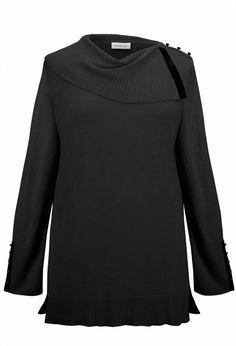 Pleather Trim Split Neck Sweater