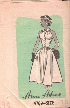 "VINTAGE ANNE ADAMS SEWING DRESSMAKING PATTERN titled...  MISSES ONE PIECE HALTER DRESS    PATTERN NUMBER 4769     Anne Adams Pattern Company -- Copyright 1954     SIZE 13 BUST 31 WAIST 26 HIP 34""    Anne Adams Pattern  Pattern Number 4769  Copyright: 1954    Vintage 50's Misses Halter-Dress Pattern"