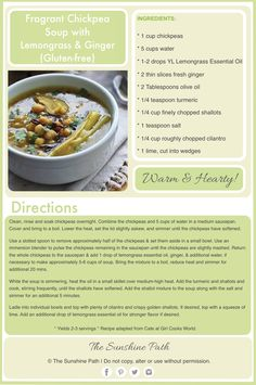 #Chickpea Soup with Lemongrass & Ginger #Glutenfree #TheSunshinePath