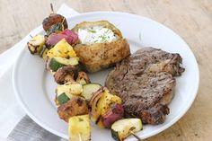 Grilled Steaks with Pineapple, Zucchini, Mushroom Kebabs