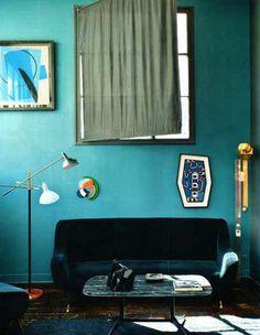 Florence Lopez - Paris apartment interior, bedroom decor, paris bedroom, blue, paris apartments, paint colors, wall colours, bedroom designs, florenc lopez