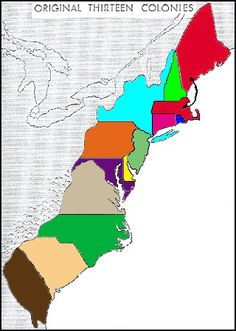 The 13 Colonies of America: Clickable Map