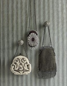 Vintage bags hung on wall